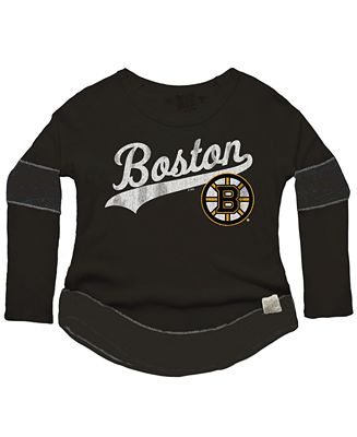 Retro Brand Women S Boston Bruins Faceoff Thermal Long Sleeve T