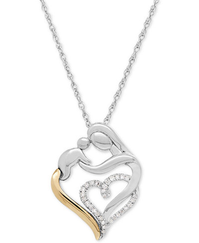 Diamond Mother and Child Pendant Necklace (1/10 ct. t.w.) in Sterling Silver and 14k Gold