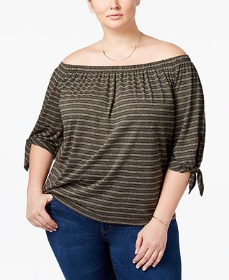 Soprano Trendy Plus Size Striped Off-The-Shoulder Top