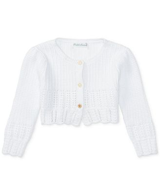Ralph Lauren Cotton Shrug Sweater, Baby Girls (0-24 months ...