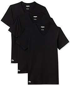 Lacoste Men's 3 Pack Cotton V-Neck Undershirts