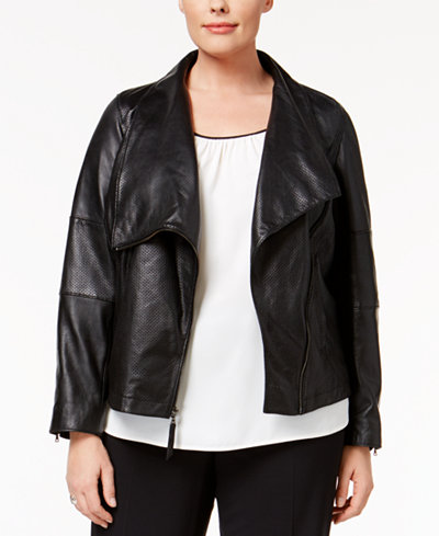 Anne Klein Plus Size Leather Moto Jacket