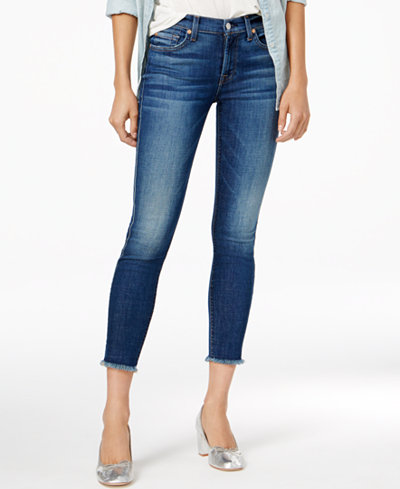 7 For All Mankind Frayed Ankle Skinny Jeans - Jeans - Women - Macy's