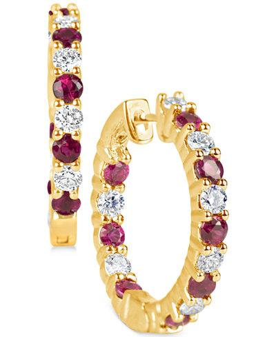 Certified Ruby (1-1/4 ct. t.w.) and Diamond (1-1/4 ct. t.w.) Hoop Earrings in 14k Gold