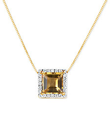Citrine (1-3/4 ct. t.w.) and Diamond (1/6 ct. t.w.) Pendant Necklace in 14k Gold