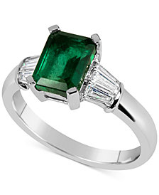 Emerald (1-5/8 ct. t.w.) and Diamond (1/3 ct. t.w.) Ring in 14k White Gold