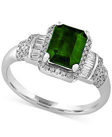 EFFY® Final Call Emerald (1-3/8 ct. t.w.) and Diamond (1/3 ct. t.w.) Ring in 14k White Gold