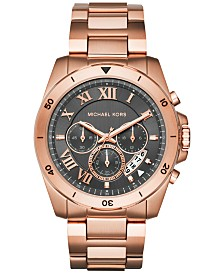 michael kors mens watches macy s michael kors men s chronograph brecken rose gold tone stainless steel bracelet watch 44mm mk8563