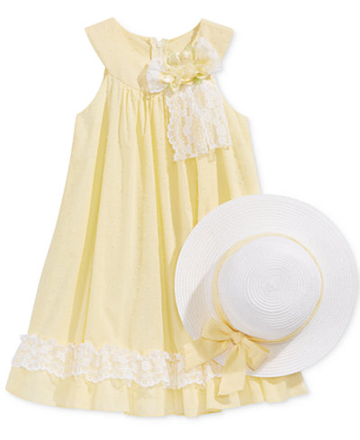 Bonnie Jean U-Neck Dress & Hat, Toddler & Little Girls (2T-6X)