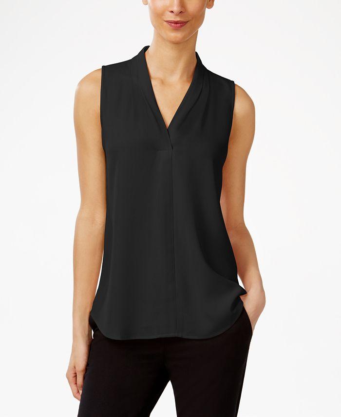 Calvin Klein - Pleated V-Neck Shell