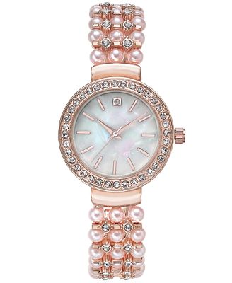 Charter Club Women's Pavé & Pink Imitation Pearl Bracelet Watch 33mm, Only at Macy's