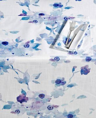 "Indigo Floral 70"" Round Tablecloth"