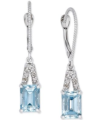Aquamarine (2 ct. t.w.) & Diamond (1/10 ct. t.w.) Drop Earrings in 14k White Gold