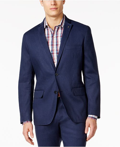 INC International Concepts INC Men's Slim-Fit Stretch Linen Blazer, Created for Macy's