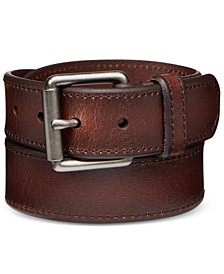 Men's Beveled-Edge Leather Belt