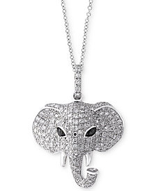 Caviar by EFFY® Diamond Elephant Pendant Necklace (3/4 ct. t.w.) in 14k White Gold