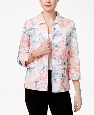 Alfred dunner petite rose hill floral print jacket for Alfred dunner wedding dresses