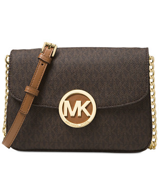 2f1896e7eae6af Michael Kors Signature Small Fulton Flap Gusset Crossbody & Reviews -  Handbags & Accessories - Macy's