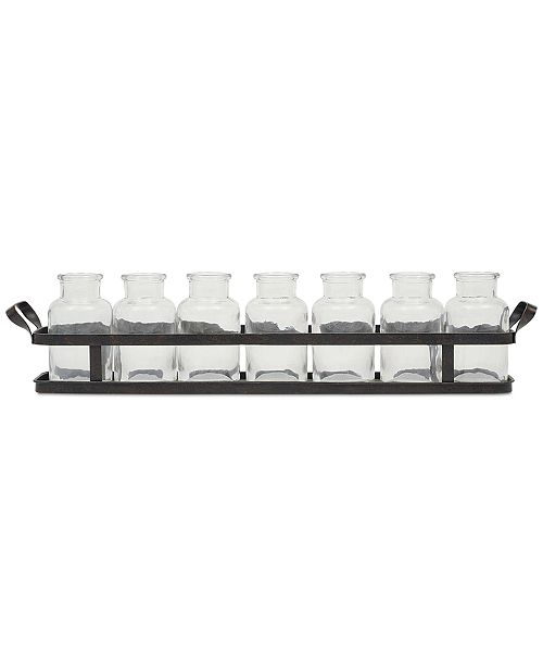 3R Studio Metal Tray with Set of 8 Glass Bottles