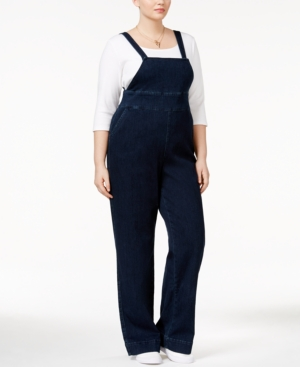 1940s Style Pants & Overalls- Wide Leg, High Waist Melissa McCarthy Seven7 Trendy Plus Size My Girl Wash Overalls $63.99 AT vintagedancer.com