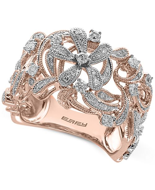 engagement floral products g gold style filigree diamonds white ring grande cushion rings diamond vintage featuring carats simon halo