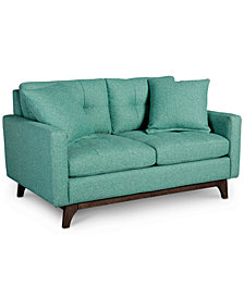 "Nari 58"" Fabric Tufted Back Loveseat with 2 Toss Pillows, Created for Macy's"