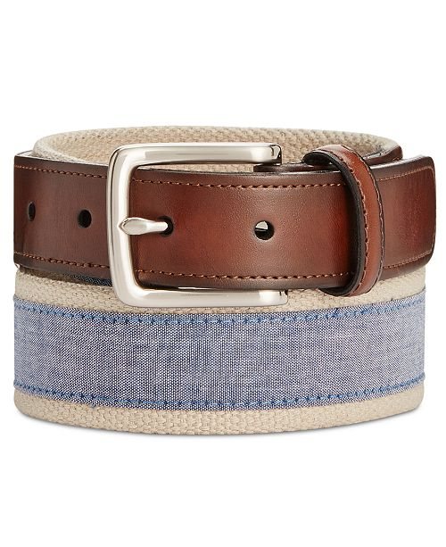 Men's Chambray Casual Belt, Created for Macy's