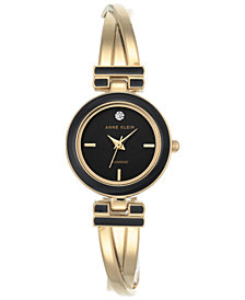 Anne Klein Women's Diamond Accent Gold-Tone and Black Enamel Bangle Bracet Watch 24mm AK-2622BKGB