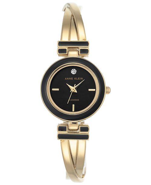 Anne Klein Women's Diamond Accent Gold-Tone and Black Enamel Bangle Bracet Watch 24mm AK-2622BKGB