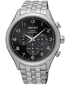 Seiko Men's Classic Solar Chronograph Stainless Steel Bracelet Watch 42mm SSC575