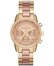 Women's Chronograph Ritz Two-Tone Stainless Steel Bracelet Watch 37mm MK6475