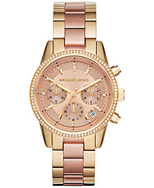 Michael Kors Women's Chronograph Ritz Two-Tone Stainless Steel Bracelet Watch 37mm MK6475