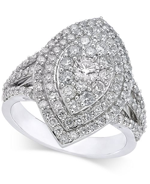 Macy's Diamond Marquise-Style Cluster Ring (1-5/8 ct. t.w.) in 14k White Gold