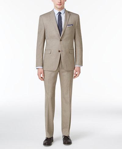 Alfani Men's Slim-Fit Traveler Light Brown Neat Suit Separates, Created for Macy's