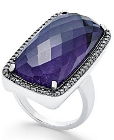 Paul & Pitü Naturally Silver-Tone Pavé & Purple Stone Ring