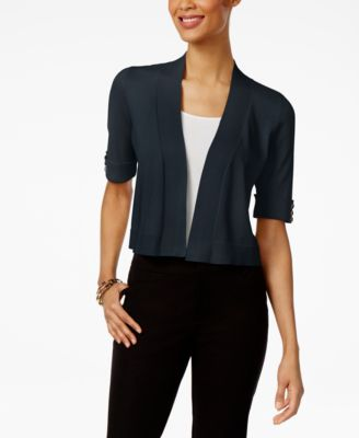 Image of JM Collection Open-Front Button-Sleeve Cardigan, Only at Macy's