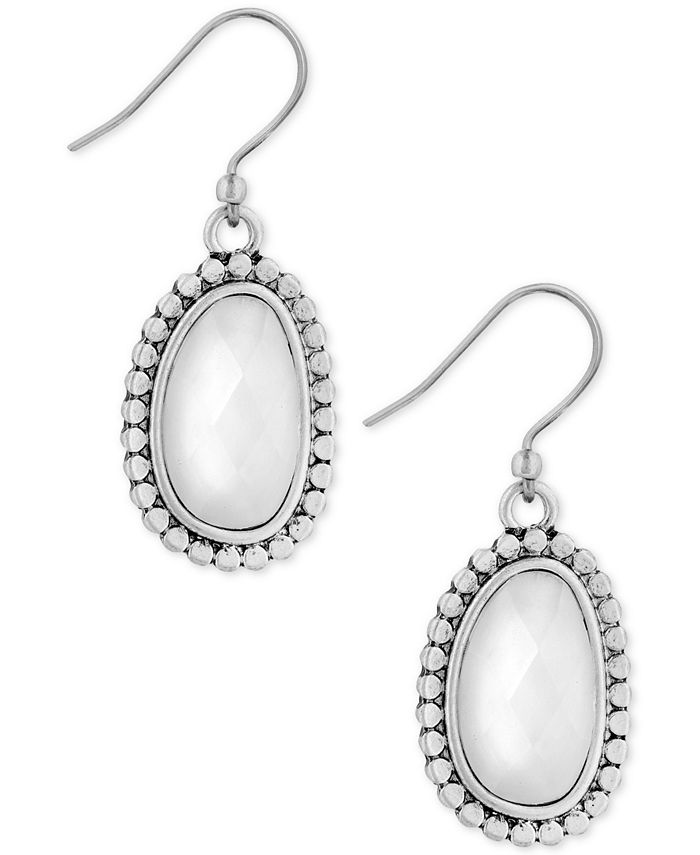 Lucky Brand - Silver-Tone Imitation Pearl Oval Drop Earrings
