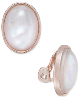 Image of Charter Club Oval Stone Clip-On Stud Earrings, Created for Macy's