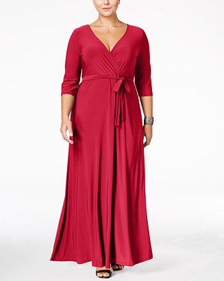 Love Squared Plus Size Faux-Wrap Maxi Dress - Dresses ...