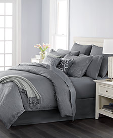CLOSEOUT! Martha Stewart Collection Juliette Graphite 14-Pc. Queen Comforter Set, Created for Macy's