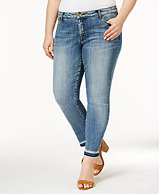 Kut from the Kloth Plus Size Reese Motive Wash Straight-Leg Ankle Jeans