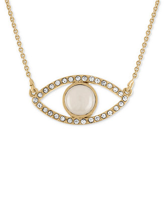 Gold Tone Pavé White Stone Eye Pendant Necklace by Rachel Rachel Roy