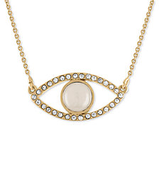 RACHEL Rachel Roy Gold-Tone Pavé White Stone Eye Pendant Necklace