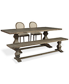 Tristan Trestle Dining Furniture, 4-Pc. Set (Trestle Dining Table, 2 Side Chairs & Bench), Created for Macy's