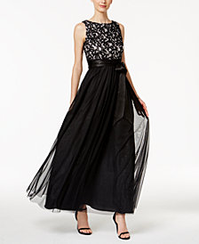 Jessica Howard Sequined Lace Mesh Gown