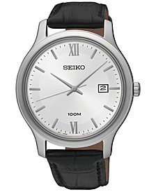 Seiko Men's Special Value Quartz Black Leather Strap Watch 41mm SUR225