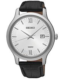 Seiko Men's Special Value Quartz Black Leather Strap Watch 41mm SUR225