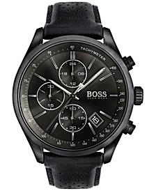 Hugo Boss Men's Chronograph Grand Prix Black Leather Strap Watch 44mm 1513474
