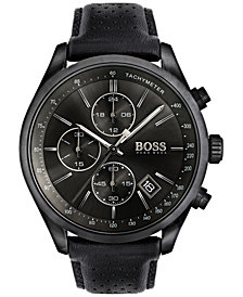 BOSS Hugo Boss Men's Chronograph Grand Prix Black Leather Strap Watch 44mm 1513474