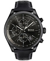 f493eb30f1e8 BOSS Hugo Boss Men s Chronograph Grand Prix Black Leather Strap Watch 44mm  1513474